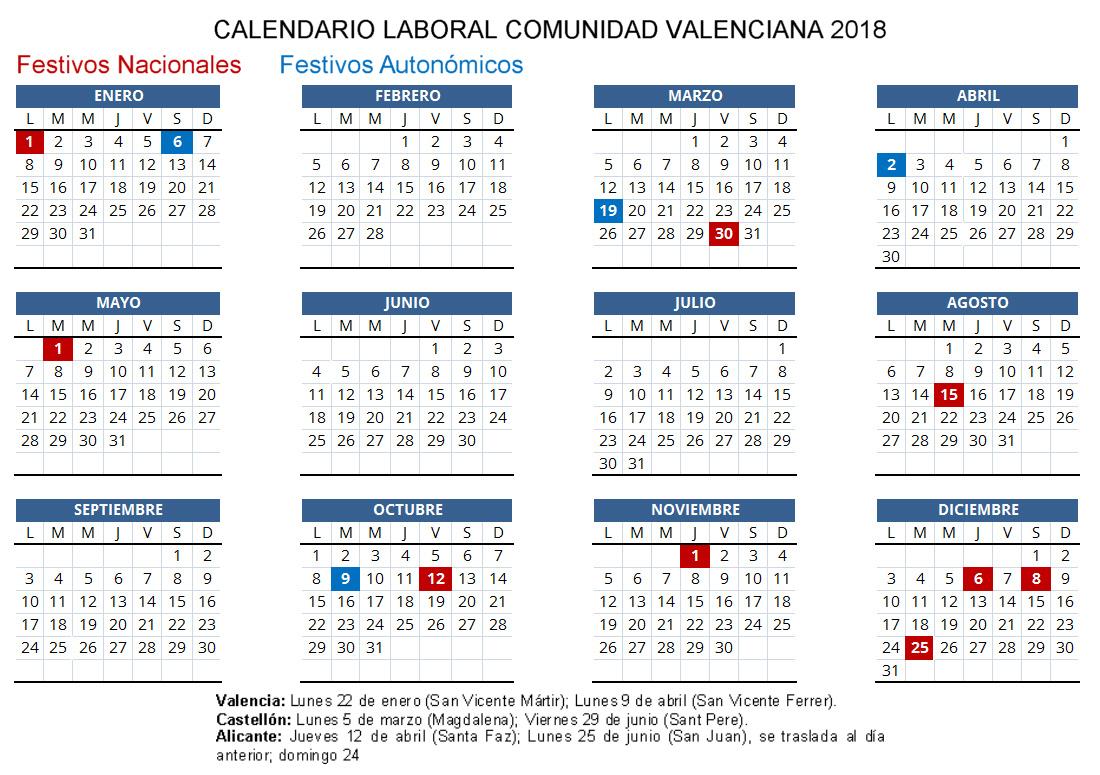 Calendario Laboral De Valencia.Calendario Laboral 2018 Estos Son Los Festivos De La Comunidad