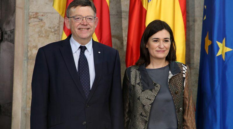 Puig recibe en la Generalitat a la nueva al Ministra de Sanidad