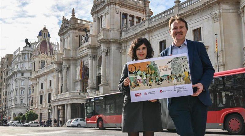 """'La Plaza es tuya': un cartel comienza a celebrar la """"recuperación"""" peatonal de la Plaza del Ayuntamiento"""