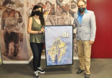 La artistaMaría Gómez Rodrigo dona al Castillo de San Pedro uno de los cuadros expuestos en esta muestra Jacetania. Ruta del Conocimiento